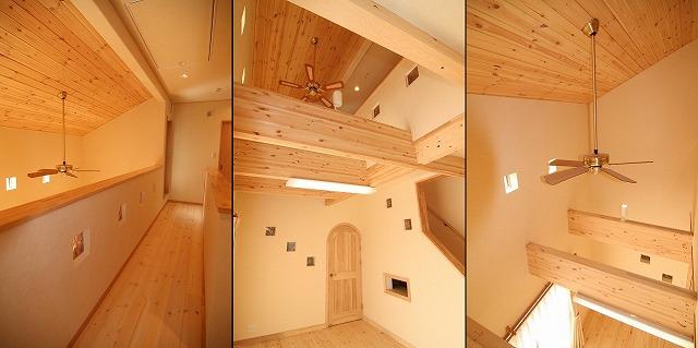 リビングの天井は無垢のパイン材を貼った吹抜け。開放感いっぱいです。