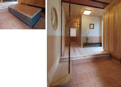 玄関の土間部分に、床からせり上がるリフトを設置。車いすでの外出も苦になりません。