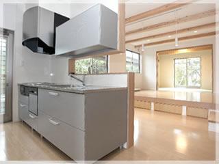 キッチンは主婦のお城。しっかりガードしていながら、開放感も確保しています。