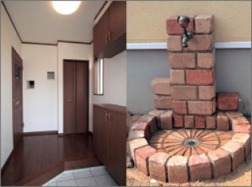 玄関とレンガ調の立水栓。